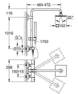 Wymiary techniczne zestawu prysznicowego Grohe Euphoria 27932000