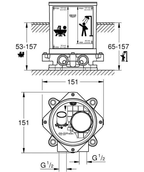 Wymiary techniczne elementu podtynkowego do kolumn wannowych Grohe 45984001.