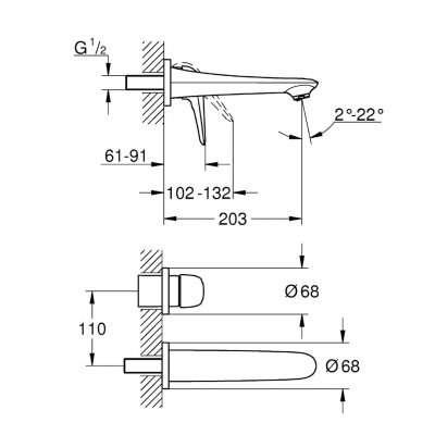 Wymiary techniczne podtynkowej baterii umywalkowej Eurostyle White marki Grohe - 29097LS3.-image_Grohe_29097LS3_4