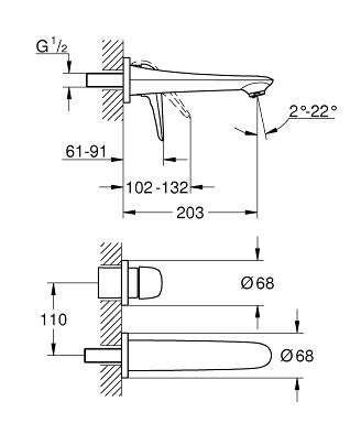 Rysunek techniczny podtynkowej baterii Grohe Eurostyle 29097003 do umywalki-image_Grohe_29097003_3