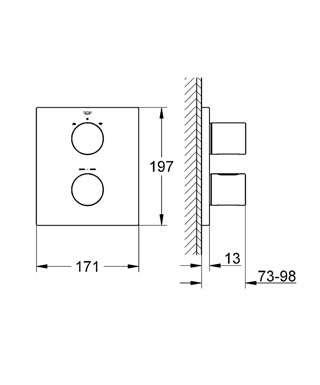 Wymiary techniczne podtynkowej baterii termostatycznej Grohe Grohtherm 3000 19567000