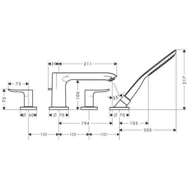 Wymiary techniczne baterii wannowej Hansgrohe Metris E2 31442000-image_Hansgrohe_31442000_3