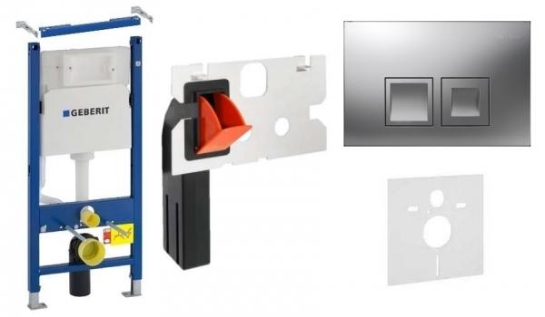 Geberit Duofix Basic w zestawie z przyciskiem Delta 50 w kolorze matowym oraz kostkarka higieniczną.