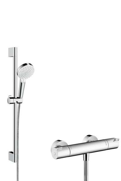 Jeden z najciekawszych zestawów termostatycznej baterii prysznicowej wraz z drążkiem i słuchawką - Hansgrohe 27812400