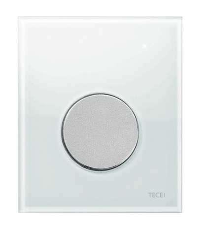 Przycisk spłukujący do pisuaru Tece Loop 9.242.659 białe szkło - obudowa, przycisk chrom mat.-image_Tece_9.242.659_1