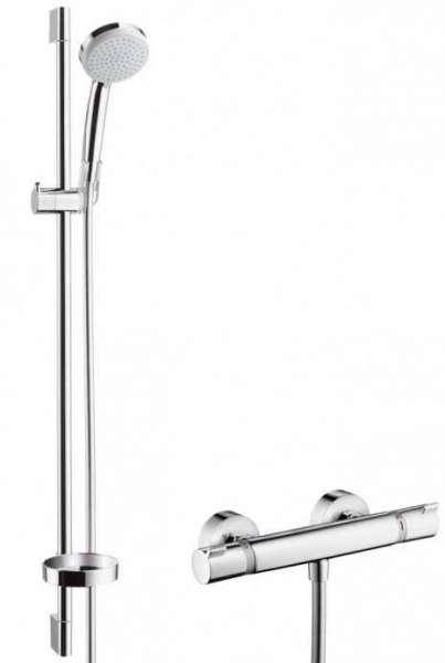 Hansgrohe Croma 100 Vario zestaw prysznicowy EcoSmart 27033000, wykończenie: chrom, ekonomiczy i ekologiczny zestaw prysznicowy z termostatem.