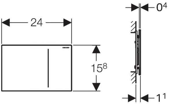 Rysunek techniczny szklanego przycisku spłukującego Geberit Sigma 70 do UP320 115.620.SI.1