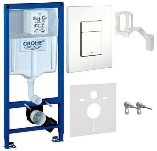 Spłuczka podtynkowa do wc Grohe Rapid 5w1. W komplecie stelaż podtynkowy do wc, przycisk spłukujący Skate Cosmopolitan, wsporniki montażowe, przekładka akustyczna.