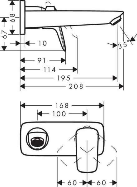 Wymiary techniczne baterii umywalkowej Hansgrohe Logis 71220000