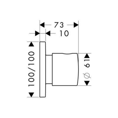 Rysunek techniczny pokrętła do zaworów podtynkowych Hansgrohe Axor Citterio M 34920000-image_Hansgrohe_34920000_3