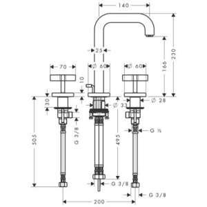 Wymiary techniczne baterii umywalkowej Citterio-image_Axor_39133000_2