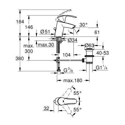 Wymiary techniczne klasycznej baterii umywalkowej Grohe Eurosmart 33265002-image_Grohe_33265002_2