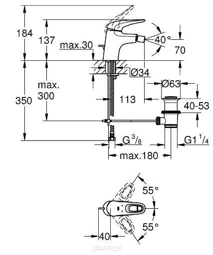 Rysunek techniczny baterii bidetowej Grohe 33565003-image_Grohe_33565003_3