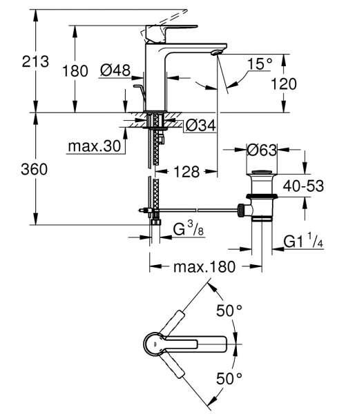 Wymiary techniczne baterii do umywalki Grohe Lineare 32114001-image_Grohe_32114001_4
