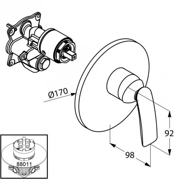 Rysunek techniczny prysznicowej baterii Balance 526558775-image_Kludi_526558775_2