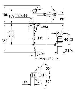 Wymiary techniczne baterii bidetowej Grohe Eurocube 23138000-image_Grohe_23138000_4