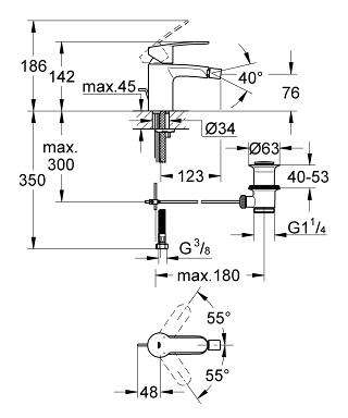 Wymiary techniczne baterii bidetowej Grohe Eurostyle Cosmopolitan 33565002-image_Grohe_33565002_4