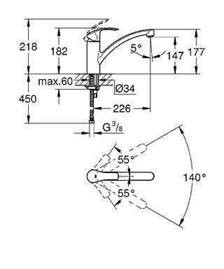 Wymiary techniczne baterii kuchennej Grohe Eurosmart 33281002-image_Grohe_33281002_3