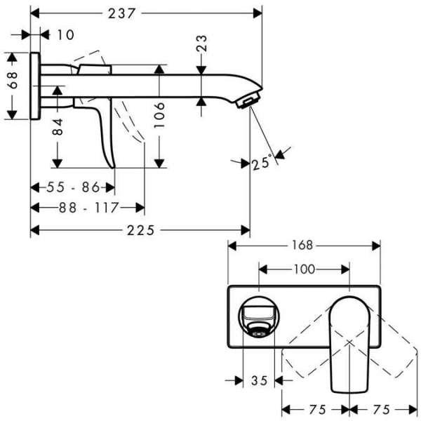 Wymiary techniczne podtynkowej baterii umywalkowej Hansgrohe Metris E2 31086000-image_Hansgrohe_31086000_3