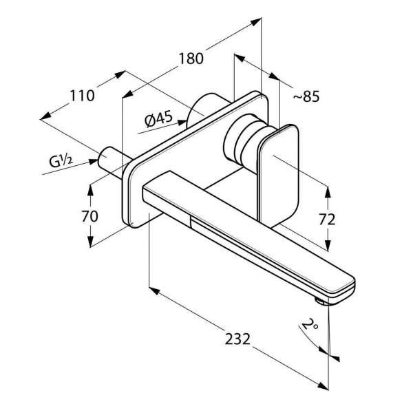 Rysunek techniczny baterii umywalkowej podtynkowej Kludi E2 49245 0575-image_Kludi_492450575_3