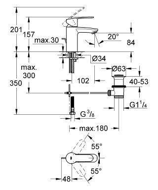Wymiary techniczne baterii umywalkowej Grohe Eurostyle Cosmopolitan 33552002-image_Grohe_33552002_5