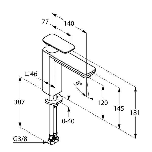 Wymiary techniczne baterii umywalkowej Kludi E2 49297 0575 -image_Kludi_492970575_3