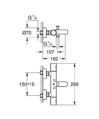 Wymiary techniczne termostatycznej baterii wannowej Grohtherm 34215002 -image_Grohe_34215002_4