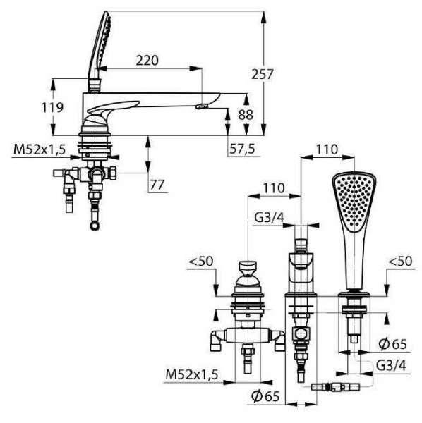 Wymiary techniczne baterii 3-otworowej Kludi Balance 524479175-image_Kludi_ 524479175_4