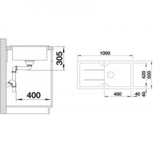 Wymiary techniczne zlewu do kuchni Blanco Idessa XL 520315-image_Blanco_520315_2