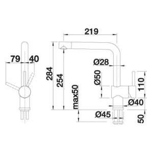 Rysunek techniczny baterii kuchennej Linus S-image_Blanco_516708_2