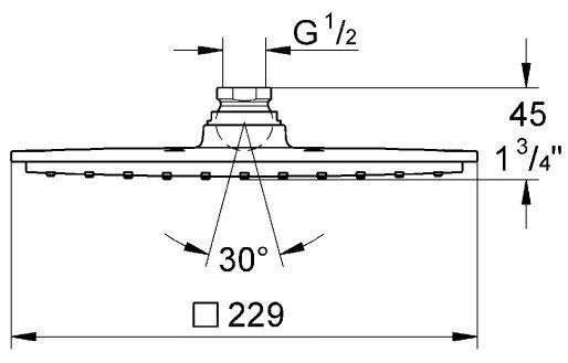 Wymiary techniczne deszczownicy Grohe Allure 27479000