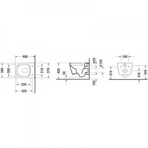 Rysunek techniczny ubikacji Duravit ME by Starck 25300900001-image_Duravit_25300900001_2