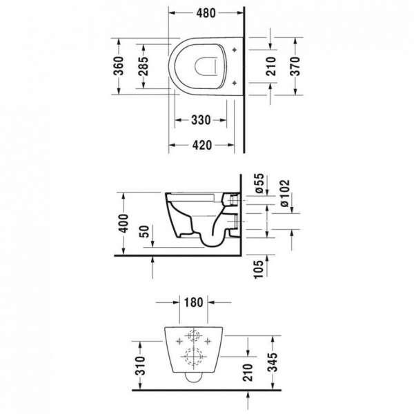 Rysunek techniczny miski wiszącej Me by Starck 45300900A1