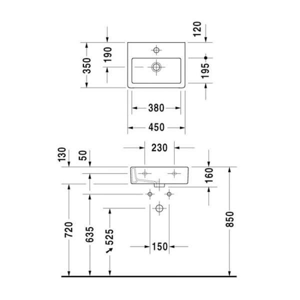 Wymiary techniczne umywalki Vero 070445 00 27-image_Duravit_0704450027_3