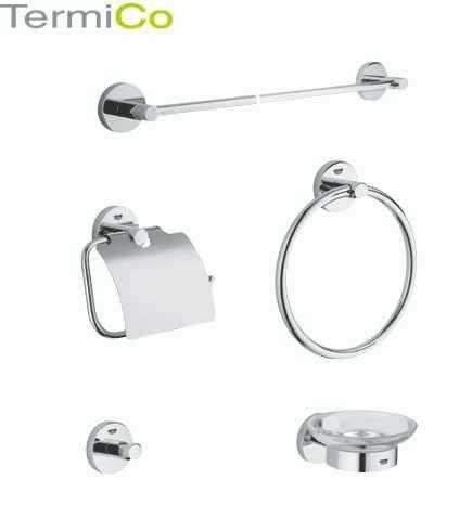Akcesoria do łazienki z Grohe Essentials takie jak uchwyt na ręcznik długi, okrągły i punktowy, uchwyt na papier z klapką oraz mydelniczka z uchwytem 40344-image_Grohe_40344000_3