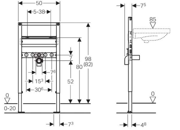 Wymiary techniczne stelaża podtynkowego do umywalki Geberit Duofix H82/98 UP200 111.485.00.1-image_Geberit_111.485.00.1_3