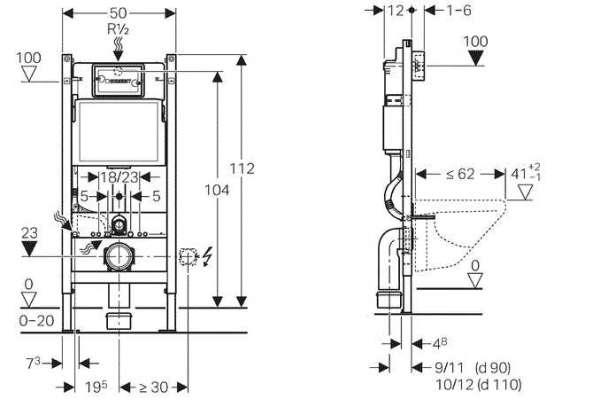 Rysunek techniczny z wymiarami spłuczki podtynkowej Geberit Duofix Basic UP100 111153001.
