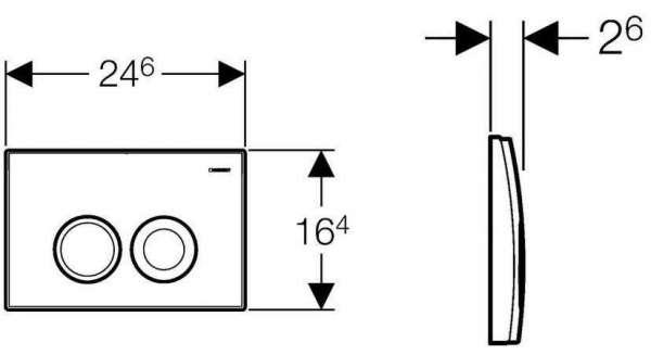 Poglądowy rysunek techniczny z wymiarami klawisza spłukującego Geberit Delta21 do stelaży podtynkowych do wc UP100.-image_Geberit_115.125.21.1_4