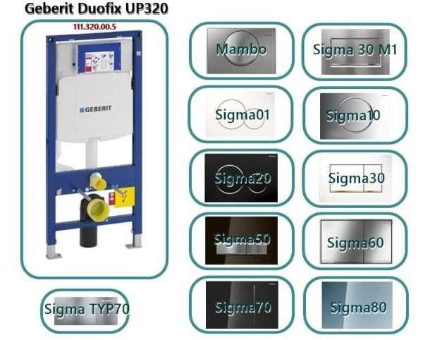 Stelaż podtynkowy Geberit Duofix Up320 Sigma - wykaz pasujących przycisków słukujących -  przyciski sigma i mambo
