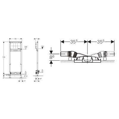 Rysunek techniczny odpływu ściennego Geberit Duofix 111.581.00.1 -image_Geberit_111.581.00.1_3