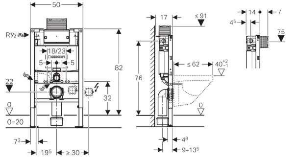 Rysunek techniczny stelaża Omega h82 111.003.00.1-image_Geberit_111.003.00.1_3