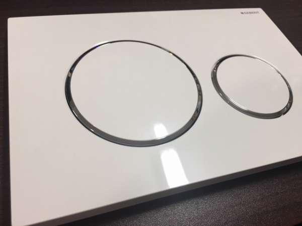 Rzeczywiste zdjęcie przycisku spłukującego Geberit Sigma20 115.882.kj.1 w wersji biały połysk z chromowanym akcentem.