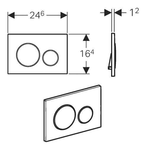 Wymiary techniczne czarnego przycisku spłukującego Geberit Sigma20 115.882.KM.1