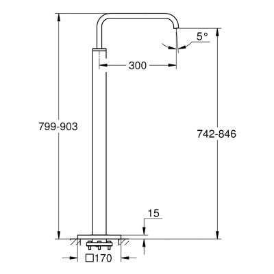 Rysunek techniczny baterii wannowej Allure 13 218 000-image_Grohe_ 13218000_4
