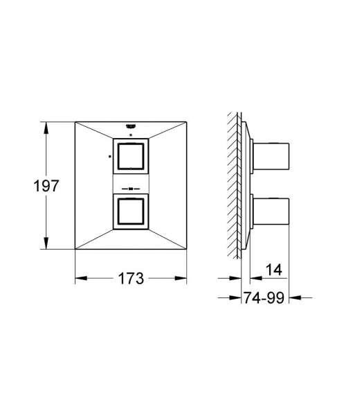 Wymiary techniczne baterii prysznicowej Grohe Allure Brilliant 19791000-image_Grohe_19791000_3