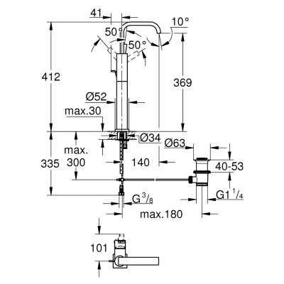 Rysunek techniczny baterii Allure 32249-image_Grohe_32249000_3