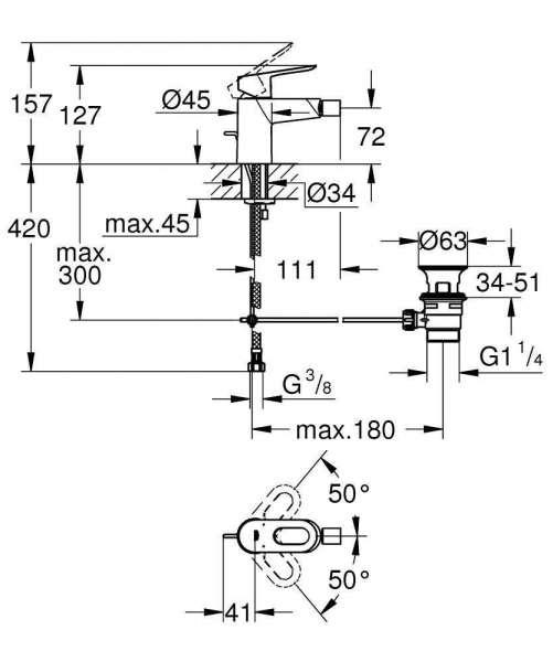 wymiary techniczne baterii bidetowej Grohe Bauloop 23338000-image_Grohe_23338000_3