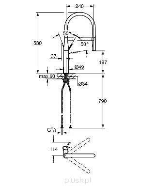 Wymiary techniczne baterii kuchennej Essence 30 294 DC0-image_Grohe_30294DC0_4