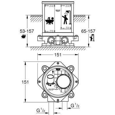 Rysunek techniczny elementu podstawowego baterii wannowej -image_Grohe_2349100K_4