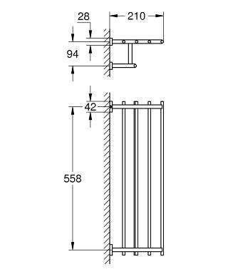 Wymiary techniczne wieszaka na ręcznik kąpielowy Grohe Essentials Cube 40512001-image_Grohe_40512001_3